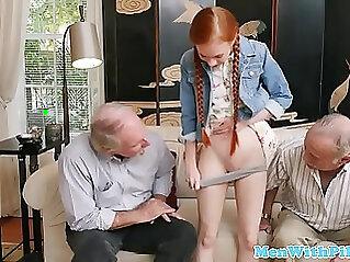 Tiny redhead sucks fucks pussy with pensioner